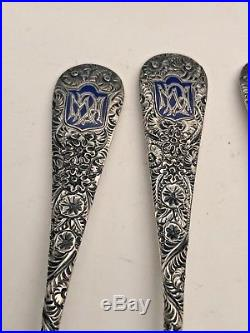 Hand Chased Salt Cellars withSpoons, Repousse Style, Sterling Silver, Whiting Co