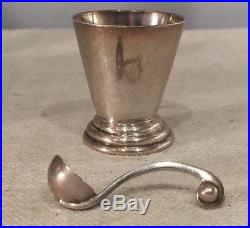Hector Aguilar Mexican 940 Sterling Silver Set 4 Salt Cellars & Original Spoons