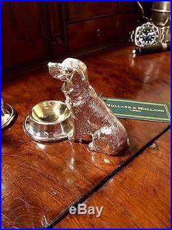 Holland & Holland Silver And Bronze Dog Table Salt Cellars Shotgun. Not Purdey