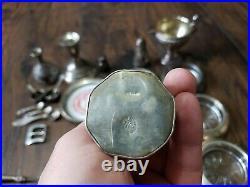 Huge Lot Victorian/Civil War Sterling Silver. 925 Lot Ink Well Salt Cellars Coin