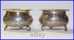 Imperial Russian 84. Silver Engraved Design Open Salt & Pepper Cellar. 1891