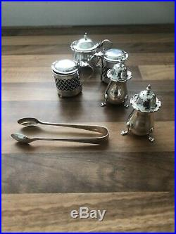 Job Lot Sterling Silver Sugar Tong Salt & Pepper Cellar Mustard Pot Stamped 264g