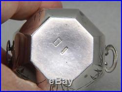 K. Uyeda Japanese Sterling Open Salt Cellar Glass Liner Octagonal Etched Palms