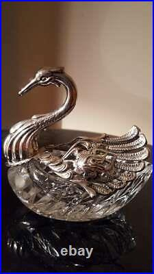 LARGE German Sterling Silver & Cut Glass Swan Salt Cellar Mint Condition
