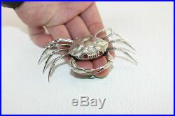 LAST ONE STERLING SILVER Figural Crab Crustacean Salt Dip Cellar w Lid Snuff Box
