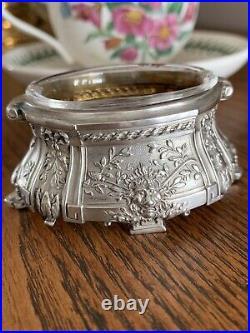 LION Victorian French 950 STERLING Silver Salt Dish Belle Epoque Greek Key Bows