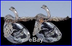 LOVELY PAIR GERMAN STERLING SILVER GLASS SWAN SALT CELLAR BOWLS w CHERUB SPOONS