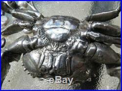 Large Crab & Spoon Sterling Silver Japanese Box Master Salt Cellar Caviar Dish