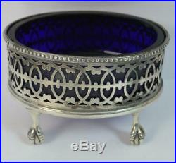 Large Hallmarked Silver Table Salt Cellar with Blue Glass