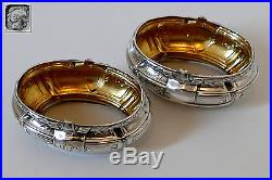Lefebre French sterling silver 18-karat gold salt cellars pair, spoons, box