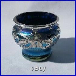 Loetz Cobalt Papillon With Silver Overlay Salt Cellar or Small Vase