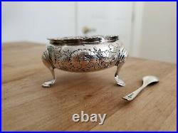 London 1759 Sterling Silver Salt Cellar with Cobalt Liner and 1912 Sheffield Spoon