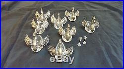 Lot 10 pcs filigree sterling silver crystal W. Germany swan salt cellars/spoons