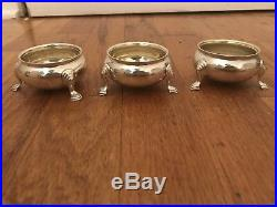 Lot Of 3 Vintage Sterling Silver England Made For Tiffany Co. Open Salt Cellars