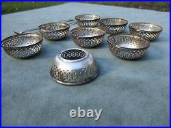 Lot of 8 Antique Webster Sterling Open Salt Dishes with silver spoons