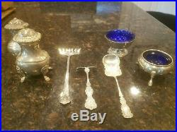 Lot of Antique Sterling Spoon Fork Baby Salt Cellar Birks Whiting Weidlich
