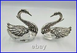 Lovely Vintage Solid Silver & Crystal Swan Salts Cellars X 2