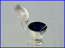 Modern English Sterling Silver Condiment Set Salt Cellar Pepper Shaker Mustard
