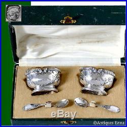 Moucheront French Sterling Silver 18k Gold Salt Cellars Pair, Spoons, OriginBox