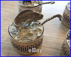 N. 6 Sea marine sterling sculpture placeholder table silver salt cellars fish