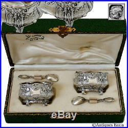 Noiret French Sterling Silver 18k Gold Salt Cellars Pair, Spoons, Original Box