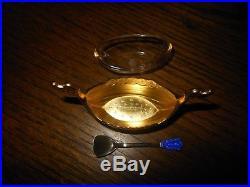 Norway 925 Sterling Silver & Cobalt Guilloche Open Viking Ship Salt & Spoon