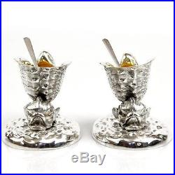 Novelty English Silver Plated Fish & Conch Shell Salt Cellars & Spoons