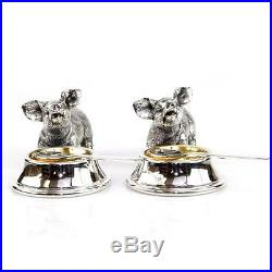 Novelty Pair Of English Silver Plated Pig Shape Salt Cellars & Spoons