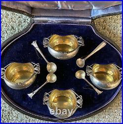 ON SALE English Sterling Silver Gilt Salt Cellars Spoons Boxed Set