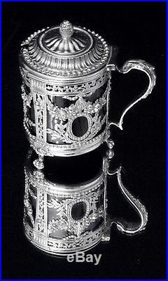 ORIGINAL LOUIS XVI STERLING SILVER SALT CELLARS + MUSTARD SERVER, LATE 1700s