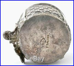 Old Japanese Gilt Sterling Silver Basket Bucket Rack Flower Open Salt Cellar Mk