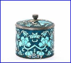 Old Korean Sterling Silver Enamel Salt Cellar Box Bowl Calligraphy Flower Marked