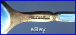 Old Sterling Enamel Guilloche Viking Ship Boat Salt Dip Spoon Norway J. Torstrup