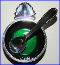Open Salt Cellar-Georg Jensen BEADED Pattern Sterling with Spoon RARE