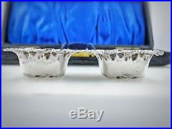 Original Antique Case with English Sterling Silver Salt Cellars and Spoons