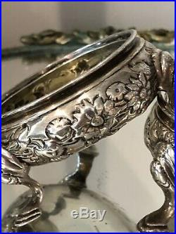 PAIR Antique ENGLISH STERLING SILVER Master SALT CELLARS FOOTED REPOUSSE 148g