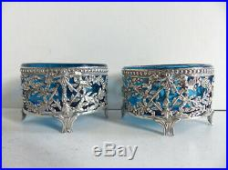 PAIR OF ANTIQUE FRENCH SOLID SILVER 950 & BLUE CRYSTAL SALT CELLARS 1890s (#1)