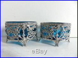 PAIR OF ANTIQUE FRENCH SOLID SILVER 950 & BLUE CRYSTAL SALT CELLARS 1890s (#2)
