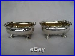 PAIR OF WLLIAM IV SOLID SILVER SALT CELLARS WITH SHELL FEET Eames & Barnard, L