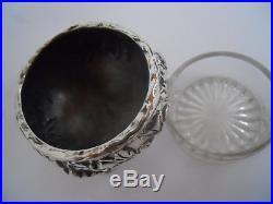 PAIR STERLING KIRK REPOUSSE SALT CELLARS w GLASS LINERS & PEPPER SHAKERS c 1950