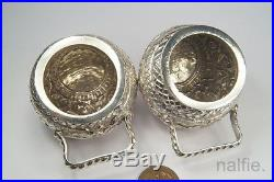 PAIR of ANTIQUE INDIAN SILVER SALT CELLARS c1880