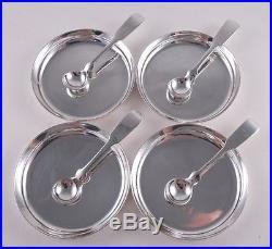 Porter Blanchard Sterling Set 4 Salts & Spoons Arts & Crafts Modernist Dishes