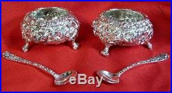 Pair 1920's STIEFF ROSE Repousse OPEN SALTS Cellars & SPOONS Sterling Silver 925