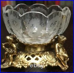 Pair 2 Art Nouveau Crystal & Gold Vermeil Sterling / Coin Silver Salt Cellars