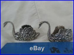 Pair 800 Silver Figural Swan Open Salt Cellars 3 early 20th century