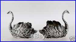 Pair Antique Cast. 935 Sterling Silver Swan Table Decoration Or Salt Cellars SL