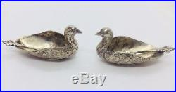Pair Antique Egyptian Sterling Silver & Figural Duck Salt Cellars & Spoon