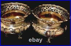 Pair Antique Englush Sterling Silver Salt Cellars