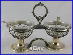 Pair Antique French Silver Glass Double Salt Cellars Denis Garreau Paris 1829