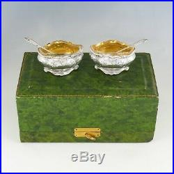 Pair Antique French Sterling Silver Salt Cellars, Spoons, Boxed Set